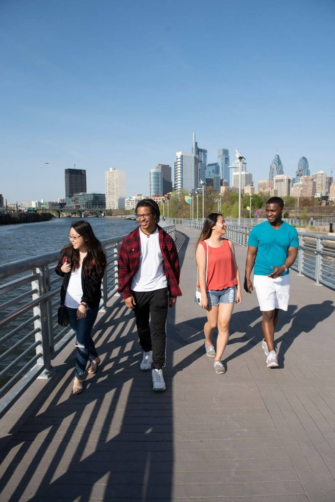 Four Campus Philly students taking a stroll around town