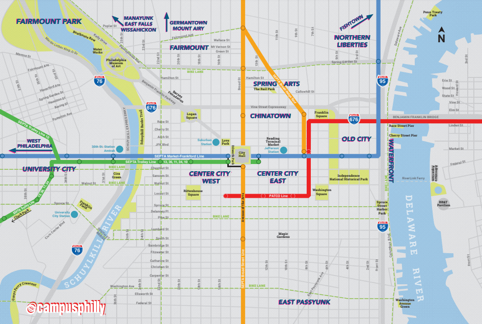 Campus Philly transit map