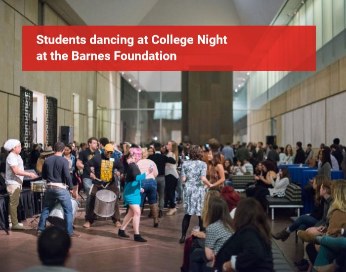 Students dancing at College night at the Barnes Foundation