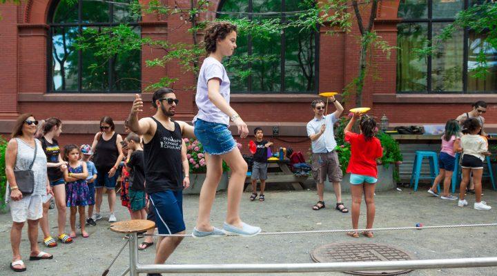 Circus student practacing tightrope